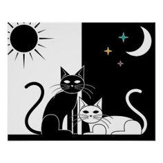Black Cat Art & Framed Artwork | Zazzle