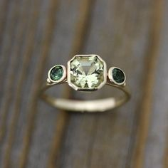 Asscher Cut Beryl and Green Tourmaline Ring in 14k Yellow Gold, Three Stone Ring. via Etsy.