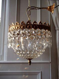 Vintage French Bronze Rococo Crystal Basket Chandelier