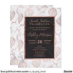Halloween costume party invitation gothic birthday wedding card rose gold floral white marble chic sweet 16 invitation reheart Image collections