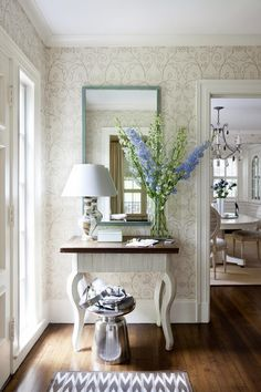 Wallpaper in entry House of Turquoise: Laura Wilmerding Interiors