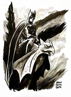 Batman on a gargoyle by Francesco Francavilla (BoG) Comic Art