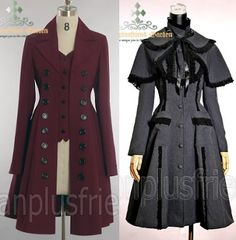 womans victorian jacket pattern | caped Edwardian coat available in grey, black, red and lilac $142 ...