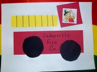 F is for Fireman or when Studying Community Helpers - shape fire truck
