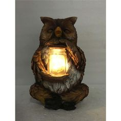 Owl seated holding a jar. The jar contains delicate fairy lights. Add this adorable owl to your garden and enjoy the glow his jar gives as the sun goes down. Battery Operated On/Off Switch at the bottom Owl Who, Jars For Sale, Fairy Lights, Glow, Table Lamp, Delicate, Statue, Gnomes, Crafts