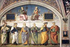Perugino · Prudenza e Giustizia sopra sei savi antichi e Autoritratto · 1496-1500 · Collegio del Cambio · Perugia