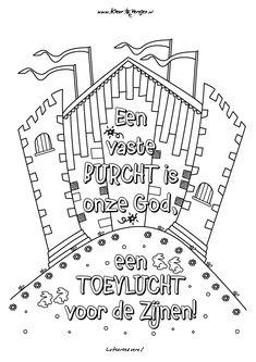 Christelijke kleurplaten op kleurversjes! Een vaste Burcht is onze God, een toevlucht voor de Zijnen