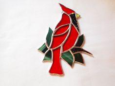 Stained Glass Red Cardinal Suncatcher by GlassofDistinction
