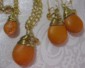 Jewelry for Her, Orange Necklace, Orange Earrings, Gold Plate Chain,  Birthday Gift