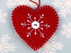 Felt Christmas Ornament Handmade Scandinavian by PuffinPatchwork