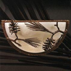 Pine Alabaster Half-Moon Sconce