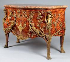 """Commode dit """" la pipée aux oiseaux """". D'après Charles CRESSENT (1685-1768)"""