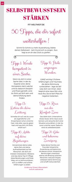 Ein starkes Selbstbewusstsein aufbauen: 50 Tipps - Teil 1 (Tipp You want to train your self-confidence and become generally more confident? Gratis Download, Mental Training, Anti Stress, Life Motivation, Self Confidence, Better Life, Self Improvement, Good To Know, Happy Life
