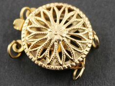Gold Filled Round Filigree Clasp with 2 Ring1 Piece by Beadspoint, $11.15