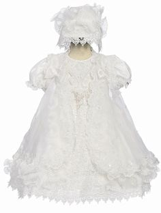 TODDLER GIRLS BAPTISM CHRISTENING DRESS PEARLS AND LACE