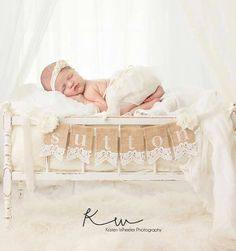 Baby Photo Prop Burlap Lace Banners Custom by StacyLavelleDesigns