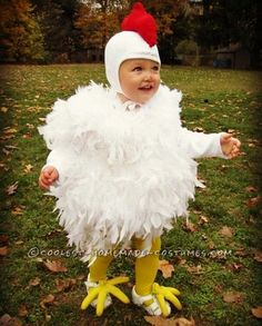 Cutest Chicken Homemade Costume: This cutest Chicken costume was originally made for my oldest daughter, 7 years ago. And it is just as cute on her baby sister, as the day she wore it Toddler Chicken Costume, Chicken Costumes, Toddler Costumes, Family Costumes, Group Costumes, Diy Halloween Costumes For Kids, Halloween Kostüm, Zombie Costumes, Halloween Couples