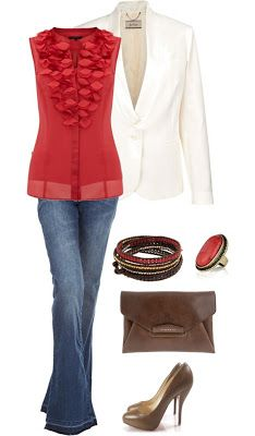 LOLO Moda: Fashionable women outfits - 2013 Trends. I could never wear the shoes at school but I love the red ruffles on the blouse. #graceadler