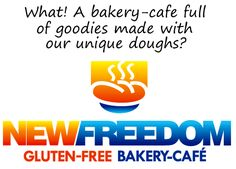 gluten free bakery cafe with text