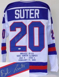 Bob Suter 1980 USA Hockey Signed STAT Jersey JSA ITP