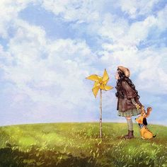 Sometimes we can feel the unseen when we change our point of view. Just like feeling the presence of wind as the pinwheel spins.  눈에 보이진 않지만 조금만 시선을 달리하면 느껴지는 것들이 있어요.  마치 바람개비가 도는 것을 보고 바람을 느끼는 것처럼요. (Full Ver. grafolio.com/works/233498) ※본 일러스트는 휴이온 제품을 협찬 받아 작업하였습니다.  #일러스트 #일러스트레이션 #휴이온 #huion #타블렛 #태블릿 #펜타블렛 #gt220 #하늘 #구름 #소녀 #구름 #강아지 #바람개비 #겨울 #코트 #언덕 #illust #illustration #drawing #sketch #paint #girl #pinwheel #sky #clouds