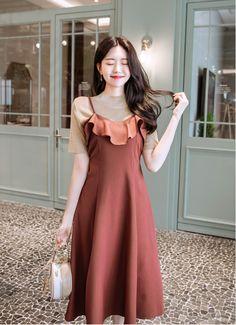 Korean Fashion Dress, Korean Outfits, Asian Fashion, Fashion Dresses, Girly Outfits, Modest Outfits, Casual Dresses, Korea Dress, Simple Gowns