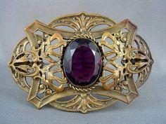 EYE CATCHING Big Antique Art Nouveau 1900's Rich AMETHYST Paste SASH PIN Brooch