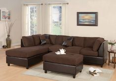 Search for modern sectional set with chaise and cocktail ottoman in microfiber. Sofa sectional sets are available with left and right arm chaise in chocolate color. Chesterfield Sofa, 3 Piece Sectional Sofa, Sectional Sofa With Chaise, Ottoman Sofa, Sofa Couch, Living Room Sectional, Modern Sectional, Sofa Set, Living Room Furniture