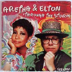 Aretha Franklin Featuring Elton John Through The Storm Single.