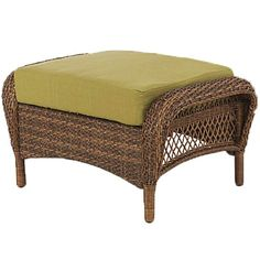 Martha Stewart Living Charlottetown Brown All Weather Wicker Patio Ottoman  With Green Cushion