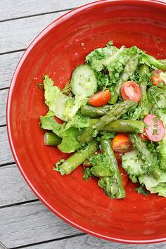Asparagus Salad with Fresh Herbs.  I love this dressing and it really goes with anything but just so refreshing.