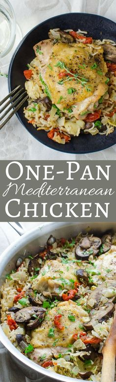 Quick and easy, this One Pan Mediterranean Chicken Recipe is ready in 45 minutes! With artichokes, sun dried tomatoes and sautéed mushrooms, it's delicious!