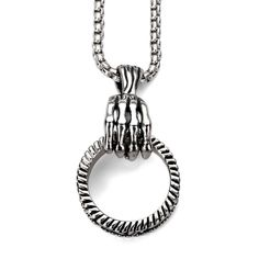 Skull Hand Pendant Stainless Steel Necklace Punk Style Jewelry Fashion Male Jewelry