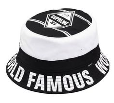 Supreme World Famous Black Bucket Hat Hype up this dad hat and maybe even he can be as dope as you! Supreme Bucket Hat, Supreme Hat, Supreme Hoodie, Light Up Hats, Black Bucket Hat, Swag Shop, Bucket Cap, Famous Black, Dad Caps