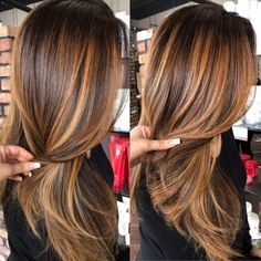 60 Looks with Caramel Highlights on Brown and Dark. - 60 Looks with Caramel Highlights on Brown and Dark Brown Hair Copper Balayage For Brunette Hair - Blonde Caramel Highlights, Brown Hair With Highlights, Hair Color Highlights, Ombre Hair Color, Bayalage Caramel, Caramel Hair With Brown, Highlights For Brunettes, Caramel Ombre, Color For Hair