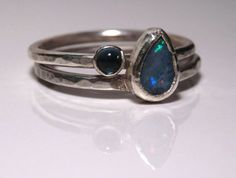 Sterling silver stacking ring set with Australian opal and London blue topaz  Emmy Bean