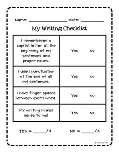 FREE: Writing Checklist via The Teacher Wife. This printable will help your students be more accountable for their own writing.   It has a checklist for:  1. Capitals  2. Punctuation  3. Finger Spaces  4. Does it make sense?  *Free Elementary Worksheet Printables *