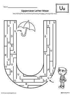 Uppercase Letter U Maze Worksheet Worksheet.If you are looking for creative ways to help your preschooler or kindergartener to practice identifying the letters of the alphabet, the Uppercase Letter Maze is the perfect activity. Preschool Letters, Letter Activities, Preschool Learning Activities, Learning Letters, Kindergarten Worksheets, Letter S Worksheets, Maze Worksheet, Blends Worksheets, Upper And Lowercase Letters