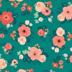 Bright turquoise background constrating with warm-colored flowers. Bright turquoise background constrating with warm-colored flowers. Textures Patterns, Fabric Patterns, Floral Patterns, Motif Floral, Floral Prints, Impression Textile, Turquoise Background, Floral Print Background, Crate Paper