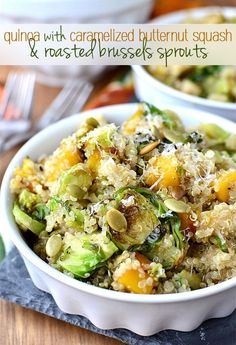 You Have Meals Poisoning More Normally Than You're Thinking That Quinoa With Caramelized Butternut Squash And Roasted Brussels Sprouts Is A Delicious Vegetarian Side Dish Vegetarian Side Dishes, Veggie Dishes, Vegetable Recipes, Food Dishes, Vegetarian Recipes, Healthy Recipes, Fall Recipes, Whole Food Recipes, Cooking Recipes