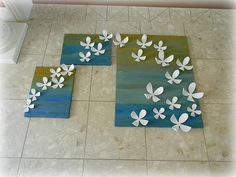 3d flowers on canvas... this would be prettier with soft yellows and pinks as background :)