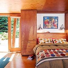 A Scando bedroom with Orla Kiely bedding