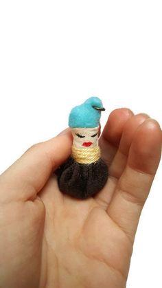 Steampunk brown creature pendant - fabric pendant - tiny creature - cute necklace - quirky pendant - cute pendant -creature charm - OOAK