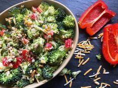 YUMMMMMM Sriracha Broccoli Salad with Bacon! No sugar added, keto and low carb friendly!