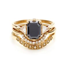 Bea Bridal Set with an Emerald cut Black Diamond in Yellow Gold + Stacking Crescent and Wheat Pavé Bands