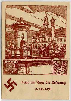 Sudetenland, Propagandakarte Leipa am Tage der Befreiung, echt gelaufen,