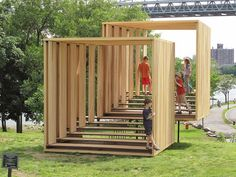 Untitled (Two Viewing Rooms, Offset) by Michael Clyde Johnson is a sculpture, a viewing platform and nearly a play area located in Randall's Island Park in New York City (USA).: