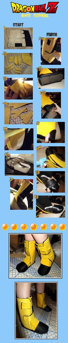 YOU WILL NEED: colored fabric (the color your character has) fleece fabric (for the inside) black pleather fabric cardstock flipflops (any shoes would w. Dragonball Z Boots Tutorial Cosplay Diy, Best Cosplay, Cosplay Costumes, Cosplay Ideas, Cute Costumes, Halloween Costumes, Videl Cosplay, Mardi Gras, Carnival