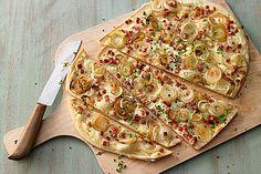 Schneller Flammkuchen ohne Hefe auch sehr lecker mit Feta-Käse und Lauch