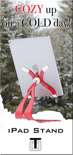 Cozy up on a snowy cold day with your iPad on quality, custom RED, iPad stand.